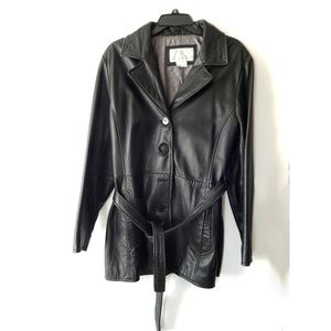 Nine West Black Leather Jacket with Belt
